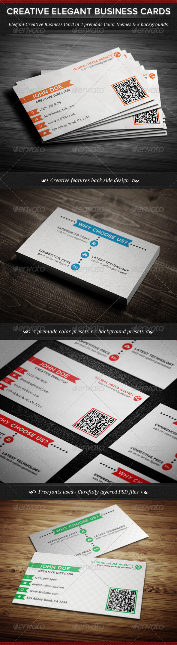 Elegant creative business cards template reheart Choice Image