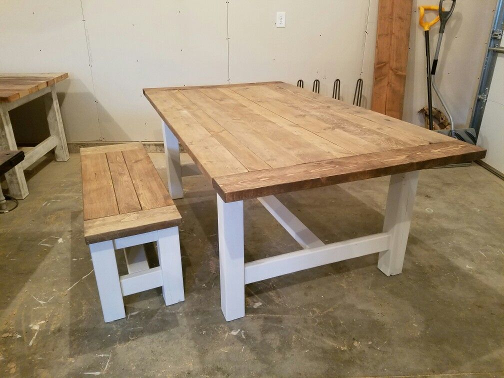 Lovely Farmhouse Table And Bench. White Base With Special Walnut And Weathered  Gray Top.
