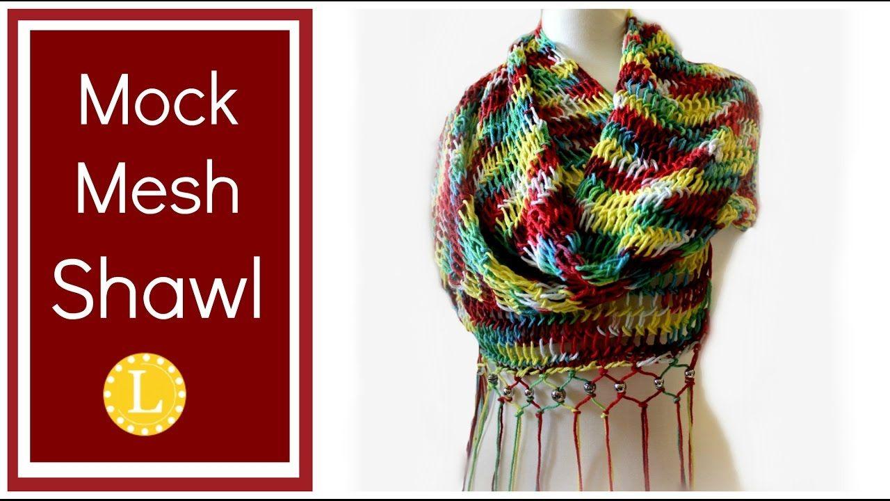 Loom Knitting Project Mock Mesh Shawl Pattern on a ...