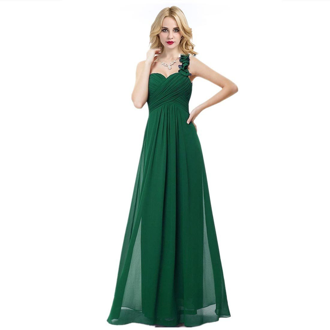 1c629b1ba481 HAWEE Womens Flower One Shoulder Long Bridesmaid Dress Chiffon Plaza Gown  for Evening Party Dark Green 18 >>> You can locate even more details by  going to ...