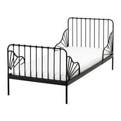 Ext bed frame with slatted bed base MINNEN black images