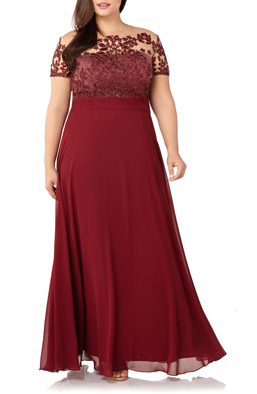 JS Collections Floral Embroidered Chiffon Gown (Plus Size ...