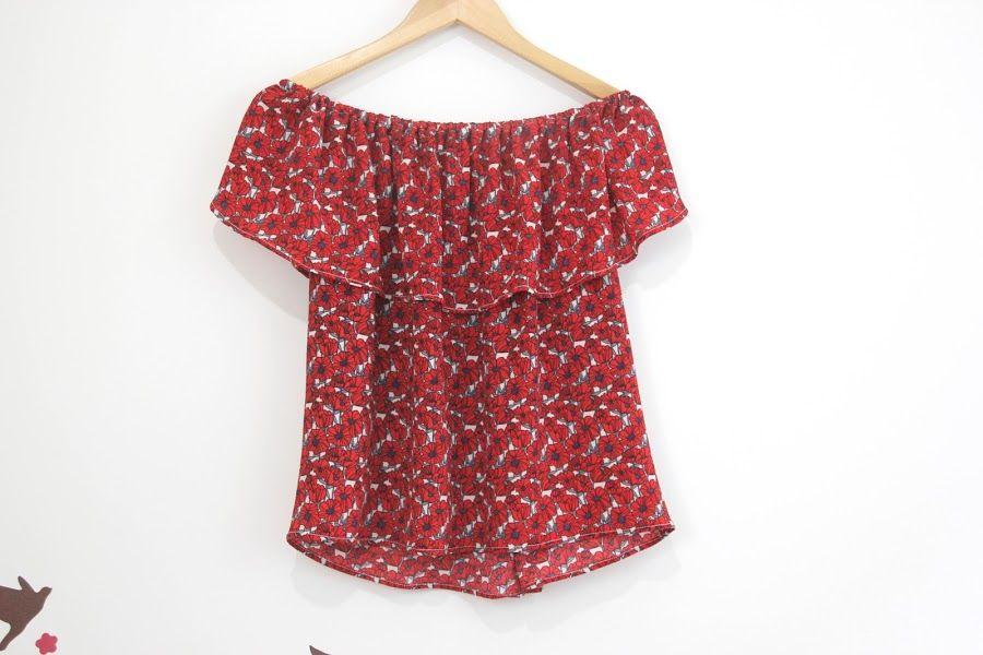 e6be870f9 Tutorial y patrones de costura: blusa sin hombros | tutoriales ...