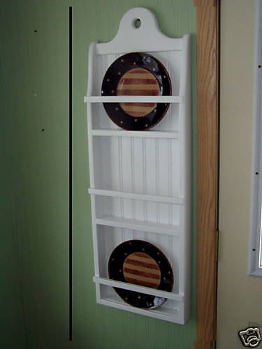 Plate Rack Primtive Pine 3 Rack Plate Holder White Country Rustic