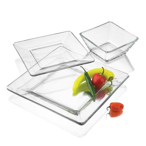 Mainstays 12 Piece Square Clear Glass Dinnerware Set Walmart Com