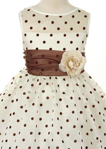 3aeb78eba753 Ivory Organza Special Occasion Dress with Brown Polka Dots Girls - 2T  Color: Ivory w