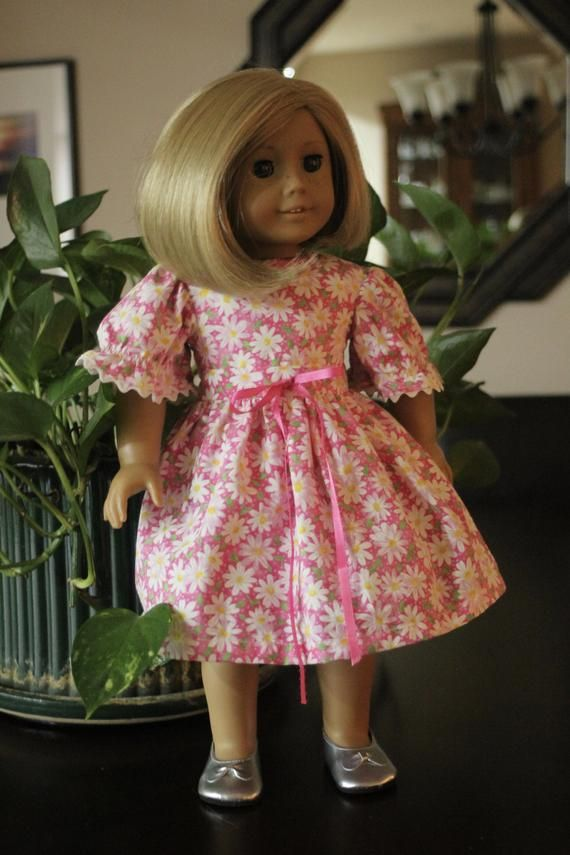 Pink and White Daisy Doll Dress, Fits American Girl, and Other 18 Inch Dolls, Includes Doll Panties, Valentines Doll Dress, Doll Clothing #dolldresspatterns