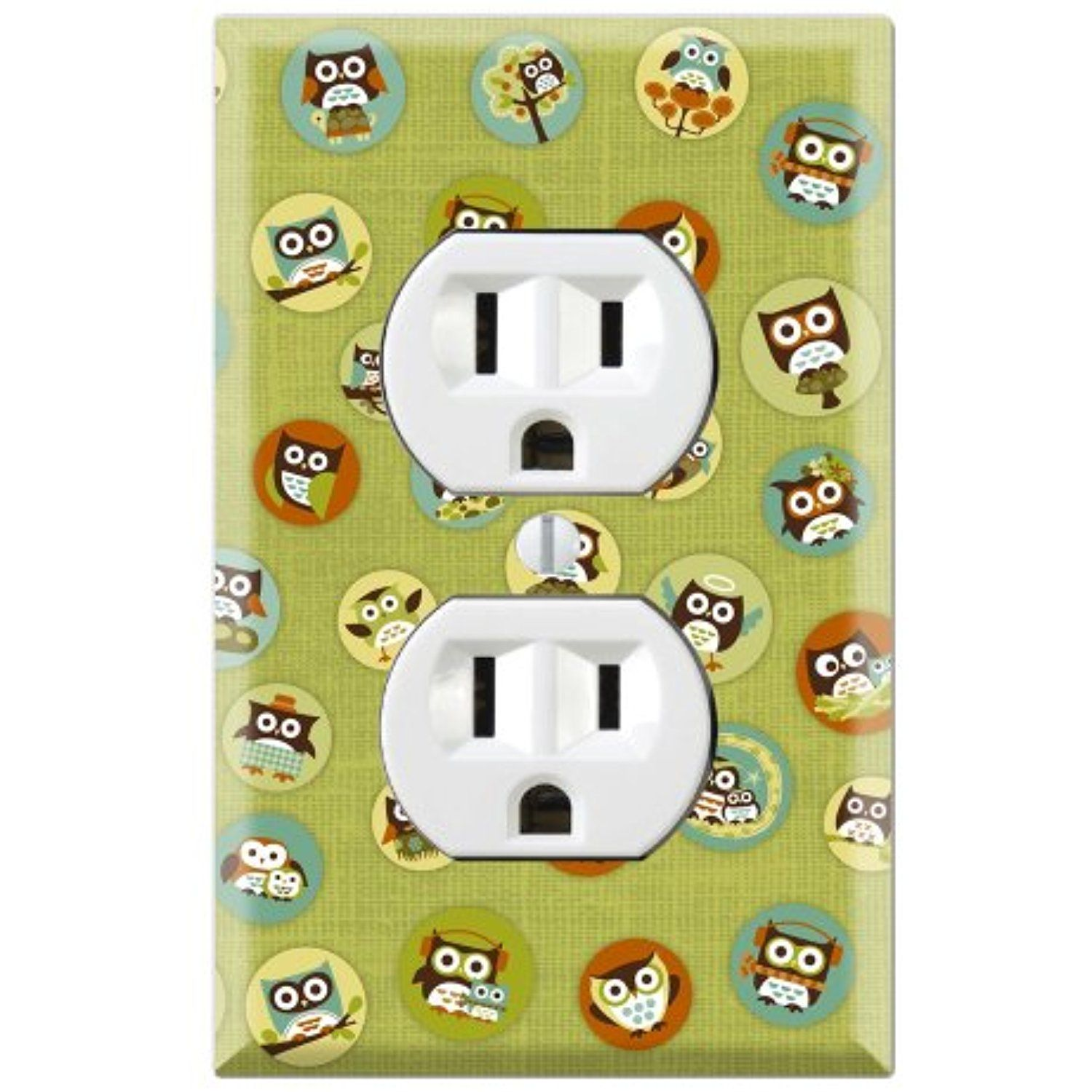 Cute Owl Green Pattern Decorative Duplex Outlet Wall Plate Cover ...