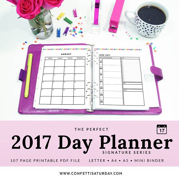 2017 planner pages printable day planner 2017 dated printable