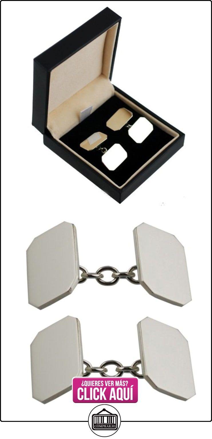 Gemelos cadena de la llanura de esquina cortar 9ct oro blanco, 18 x 12 mm  ✿ Joyas para hombres especiales - lujo ✿ ▬► Ver oferta: https://comprar.io/goto/B00SJ8NMF0