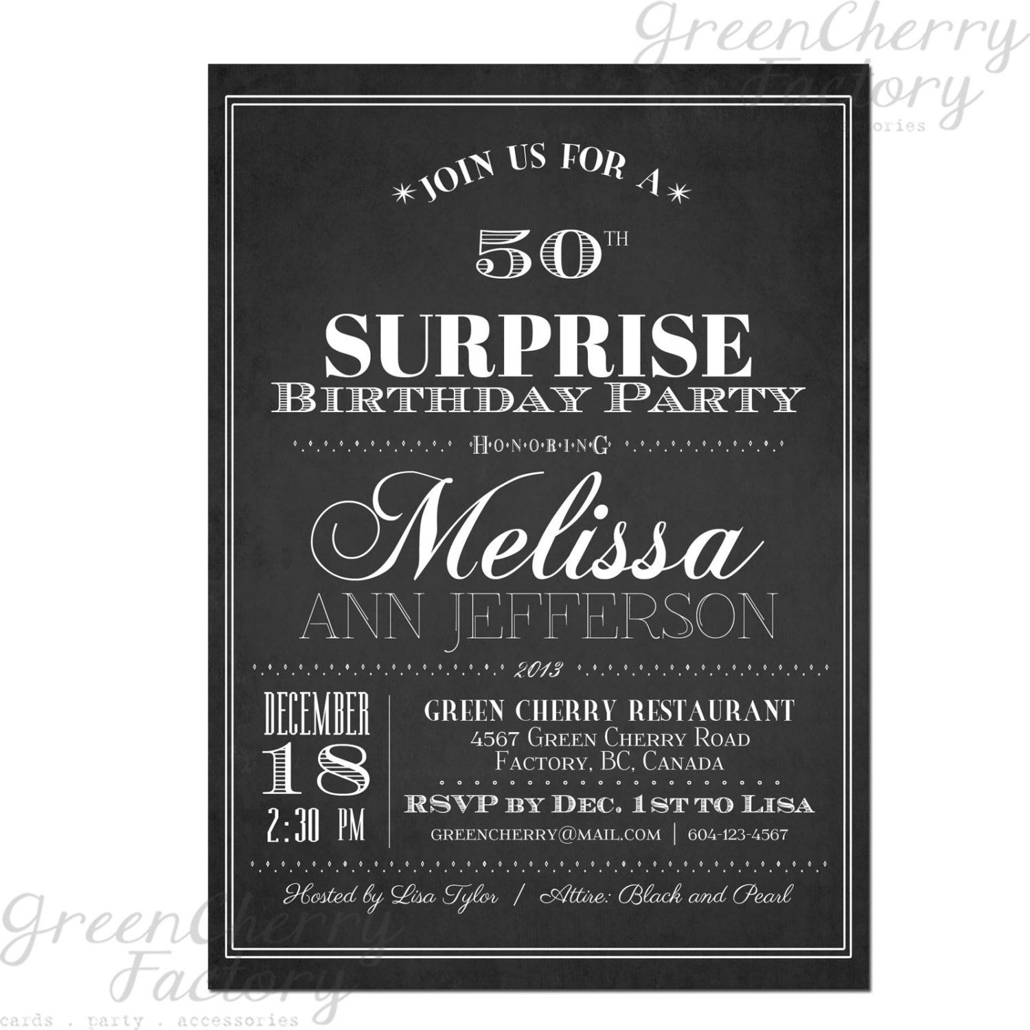 Typography Adult Surprise Birthday Invites - Chalkboard Black and ...