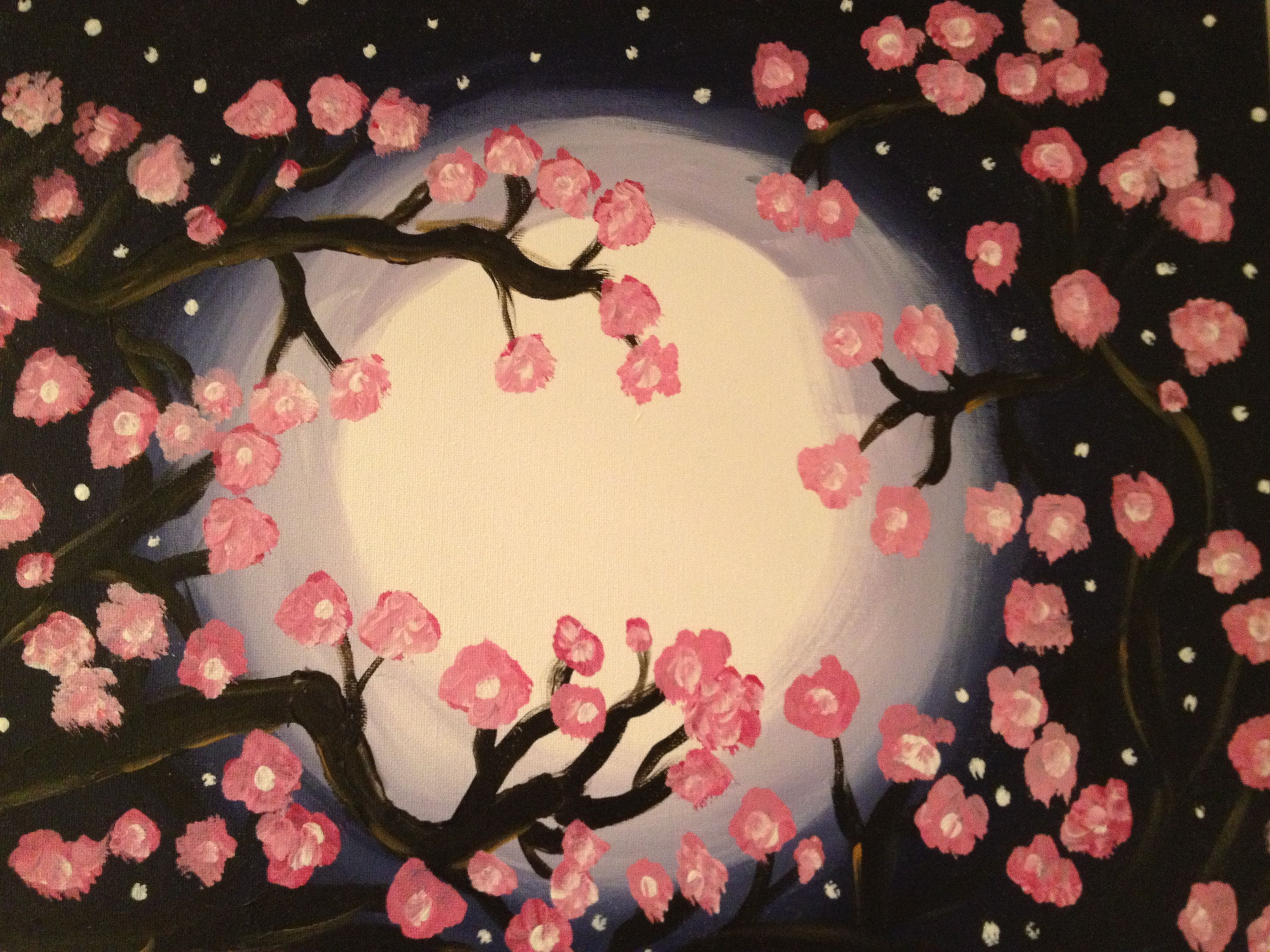 Moonlit cherry blossoms | My OWN paintings and drawings with a twist ...