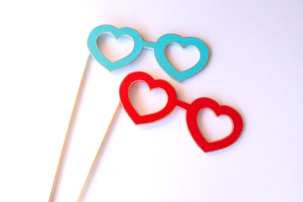 Heart Glasses Wooden Photo Booth Prop