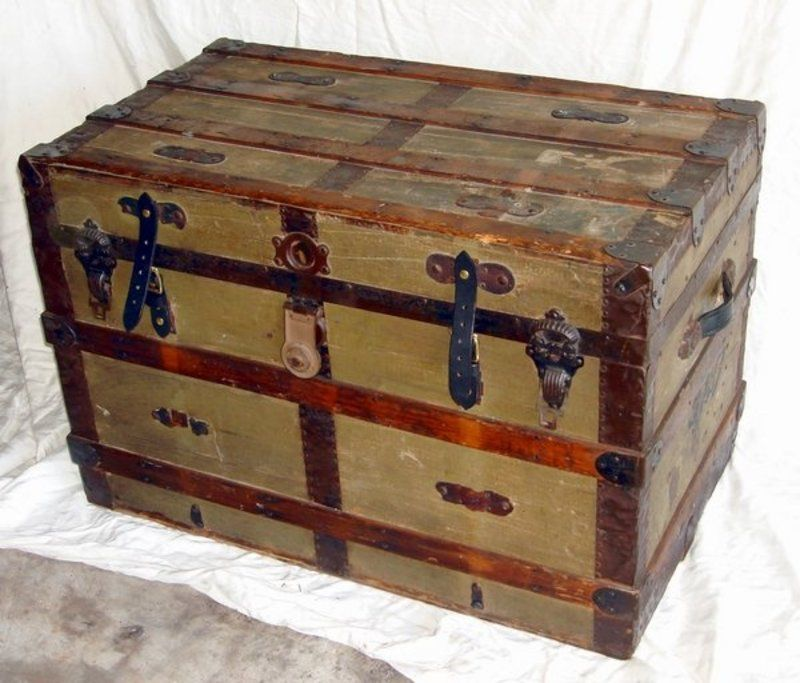 Antique Victorian Steamer Trunk 1890 Steamer Trunk Antique Steamer Trunk Old Wooden Boxes