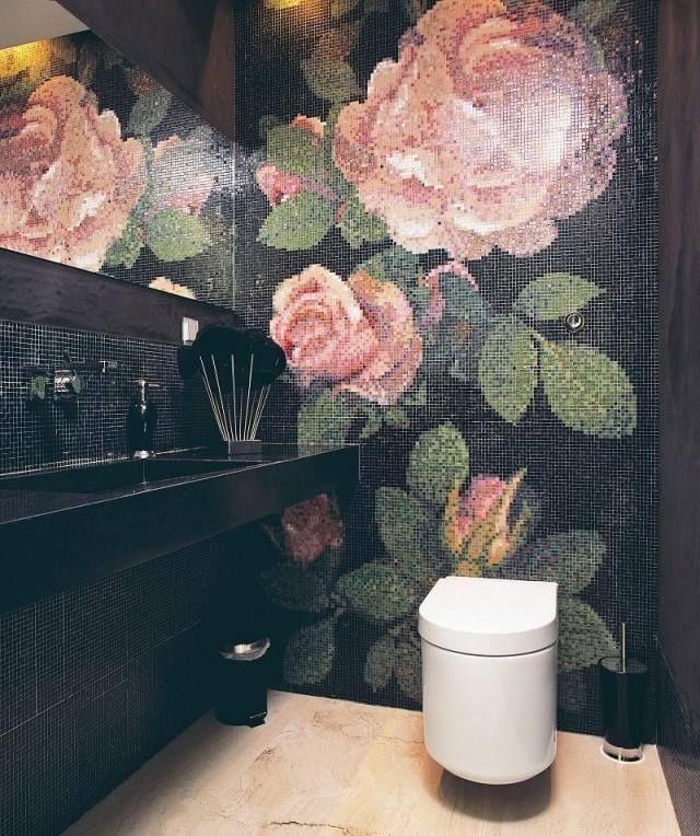 Modernes Bad Schwarze Mosaik Fliesen Rosen