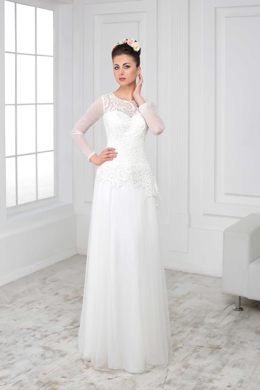 fba14037be6a Elegantné svadobné šaty s jednoduchou sukňou a čipkovaným vrškom ...