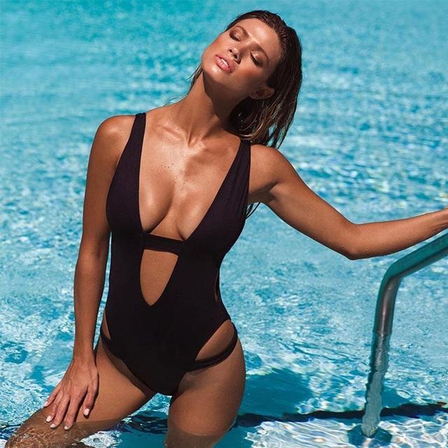Andzhelika One Piece Suits Push Up Swimwear Women Sexy Solid Bandage Bathing Suit Beach Wear For Women