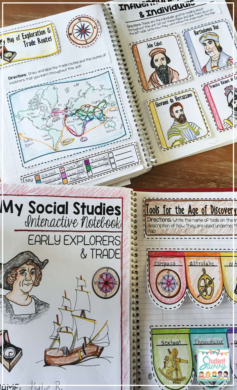 Worksheets Early Explorers Worksheets interactive notebook journal explorers social studies grades age of exploration and trade routes unit early