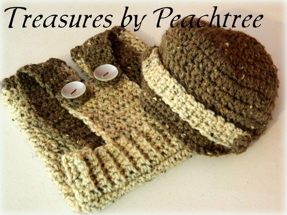Newborn Baby Boy Brown & Beige Photo Prop Overall Outfit Crochet  READY TO SHIP! #HandmadewithVannasChoicesoftyarn
