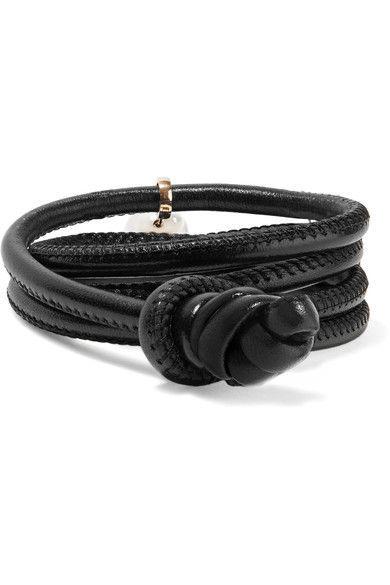 Convertible Leather, 14-karat Gold And Pearl Bracelet - one size Mizuki