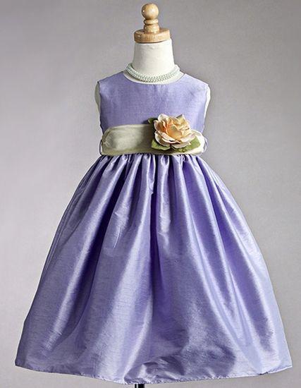 Lilac Polyester Dupioni Dress w/Organza Sash
