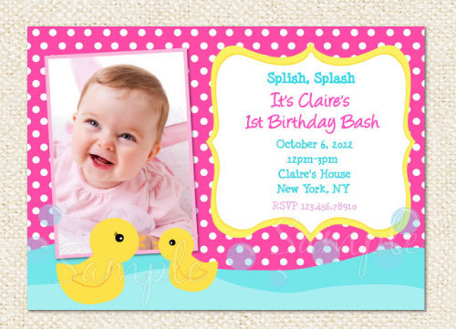 Rubber Duck Birthday Invitations $1000, via Etsy guess whos 1 - first birthday invitation templates free