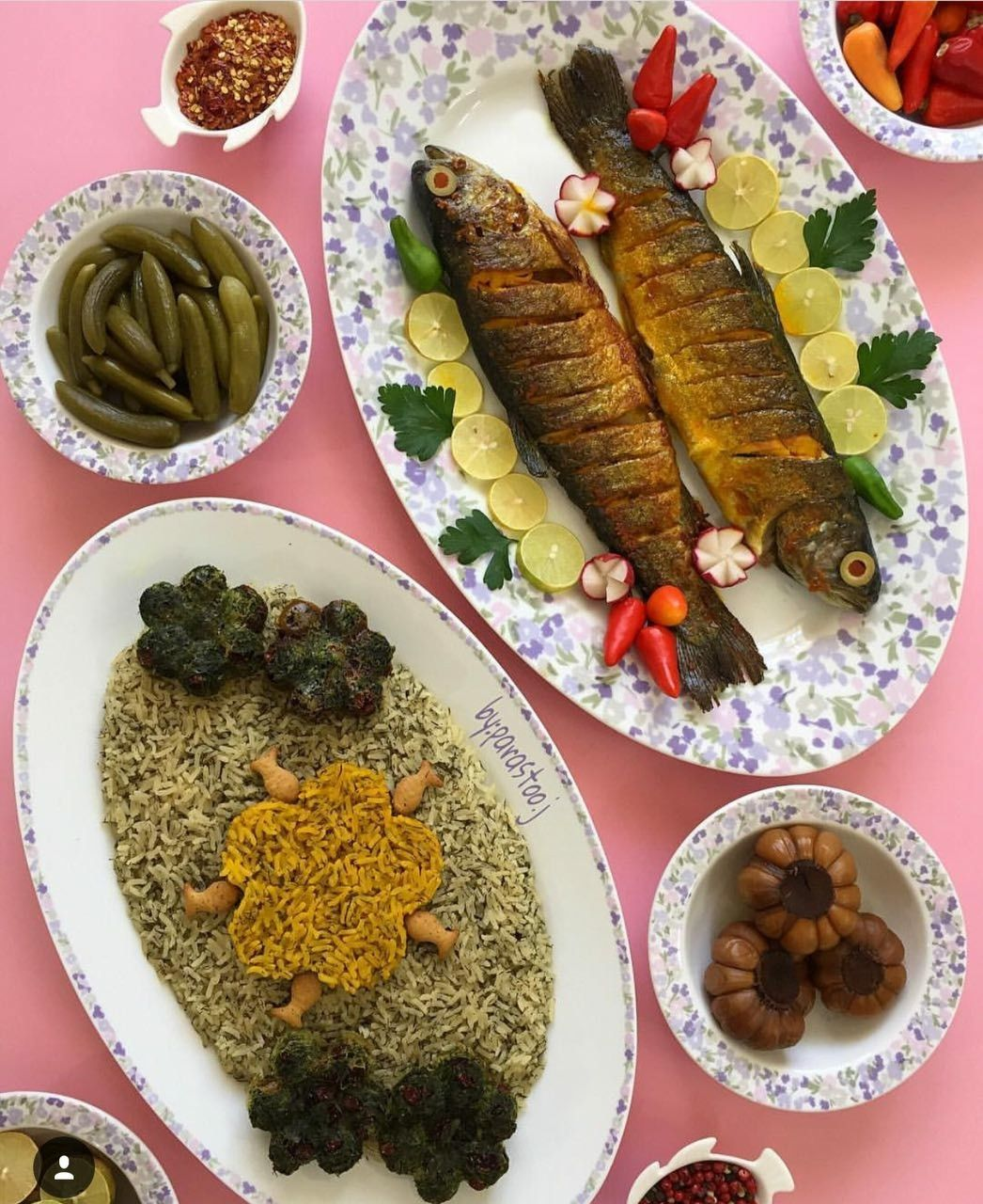 تزیین پلو ماهی | Food | Pinterest | Iranian food, Rice and ...