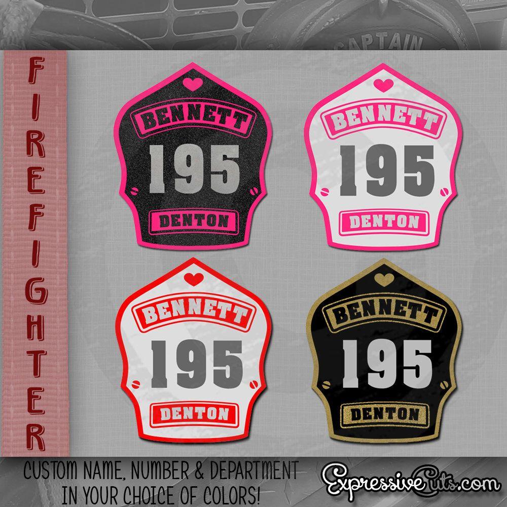 Firefighter Wife CUSTOM Decal Inch Firefighter Helmet Shield - Custom reflective fire helmet decals