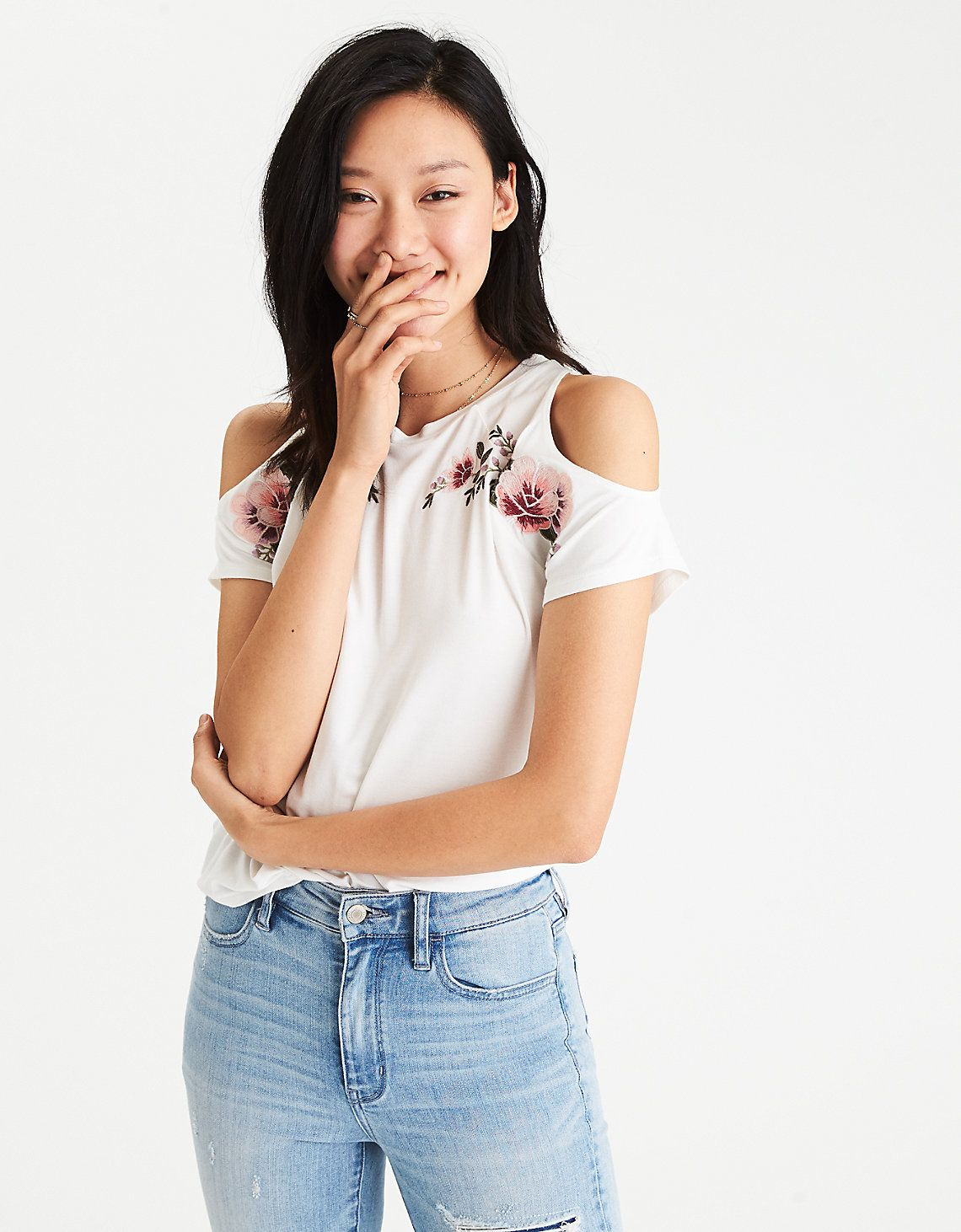 ac3f9f3f89898 AEO SOFT   SEXY COLD SHOULDER EMBROIDERED T-SHIRT. American Eagle ...