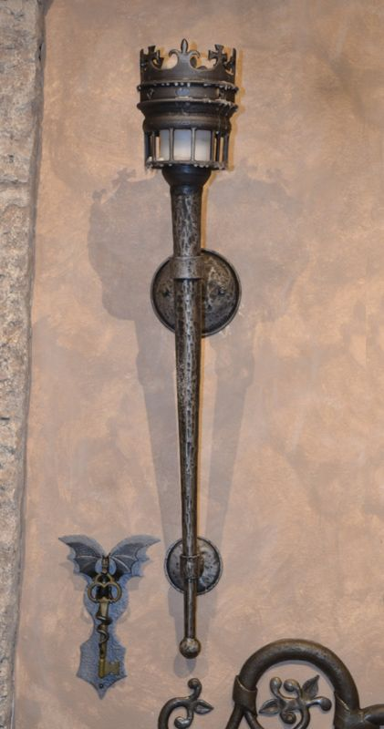 Iron Torch Wall Lights : Wrought Iron Wall Sconce Medieval Castle Torch design from hand forged solid iron by our master ...