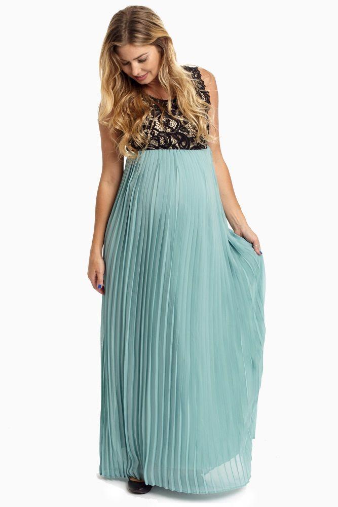 Dusty Aqua Pleated Chiffon Lace Top Maternity Maxi Dress | Maternity ...