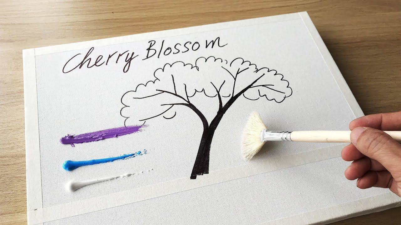 Daily Challenge 23 Acrylic Swab Art Couple In Love Under Cherry Blossom Tree Cherry Blossom Painting Acrylic Cherry Blossom Painting Cherry Blossom Tree