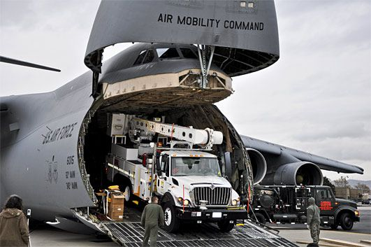 DOD helps load equipment from CA flying to NYC and beyond.