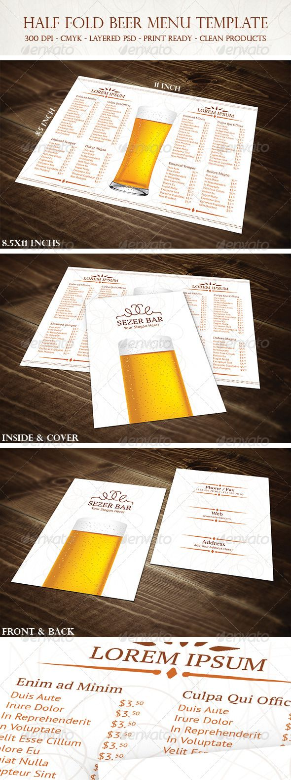 Half Fold Beer Menu Template  Menu Templates Food Menu And Menu
