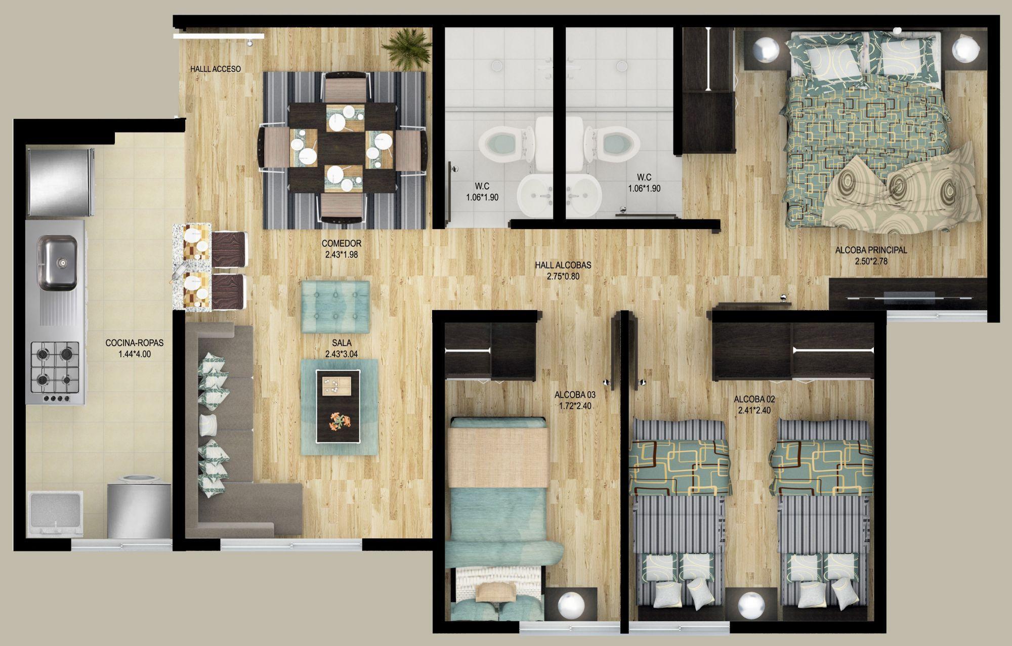 Plantas de apartamentos rectangulares google search for Planos de interiores