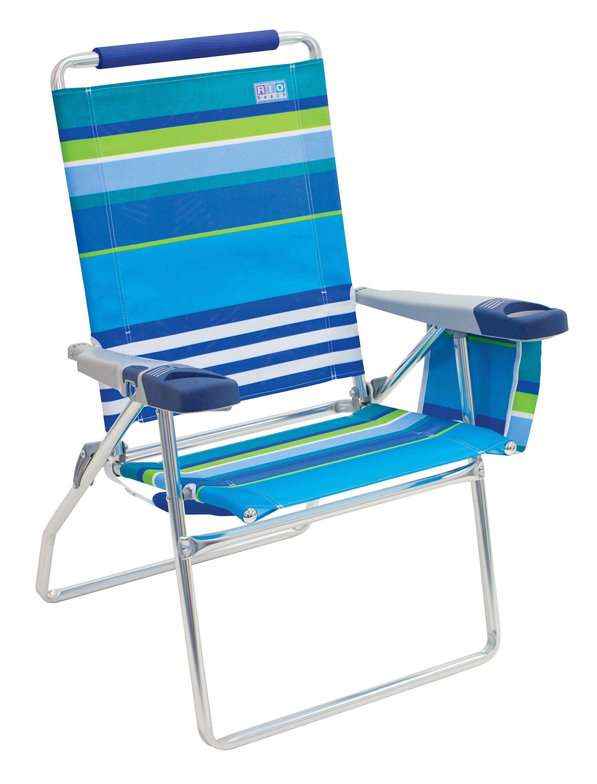 Rio Beach 17 Quot Extended Height 4 Position Folding Beach Chair Folding Beach Chair Beach Chairs High Beach Chairs