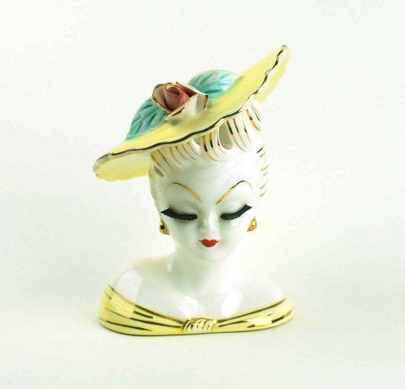 Vintage Lefton Lady Head Vase Planter
