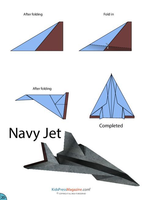 Paper Airplane Instructions Navy Jet