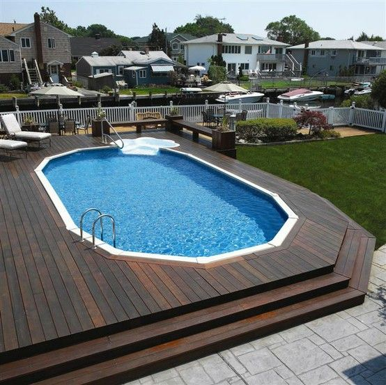 Cly Semi Inground Pool Integrated Into Decking