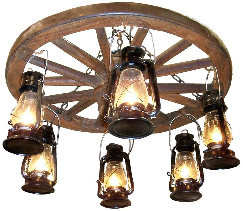 "Wagon Wheel Rustic Chandelier Western Decor Pendant Light: Amberwood Hanging Lanterns 24"" Wagon Wheel Chandelier"