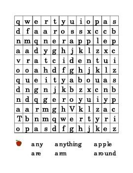 6 letter a sight word search puzzle kindergarten letter a puzzle words any anything apple are arm and around search word puzzle game activity
