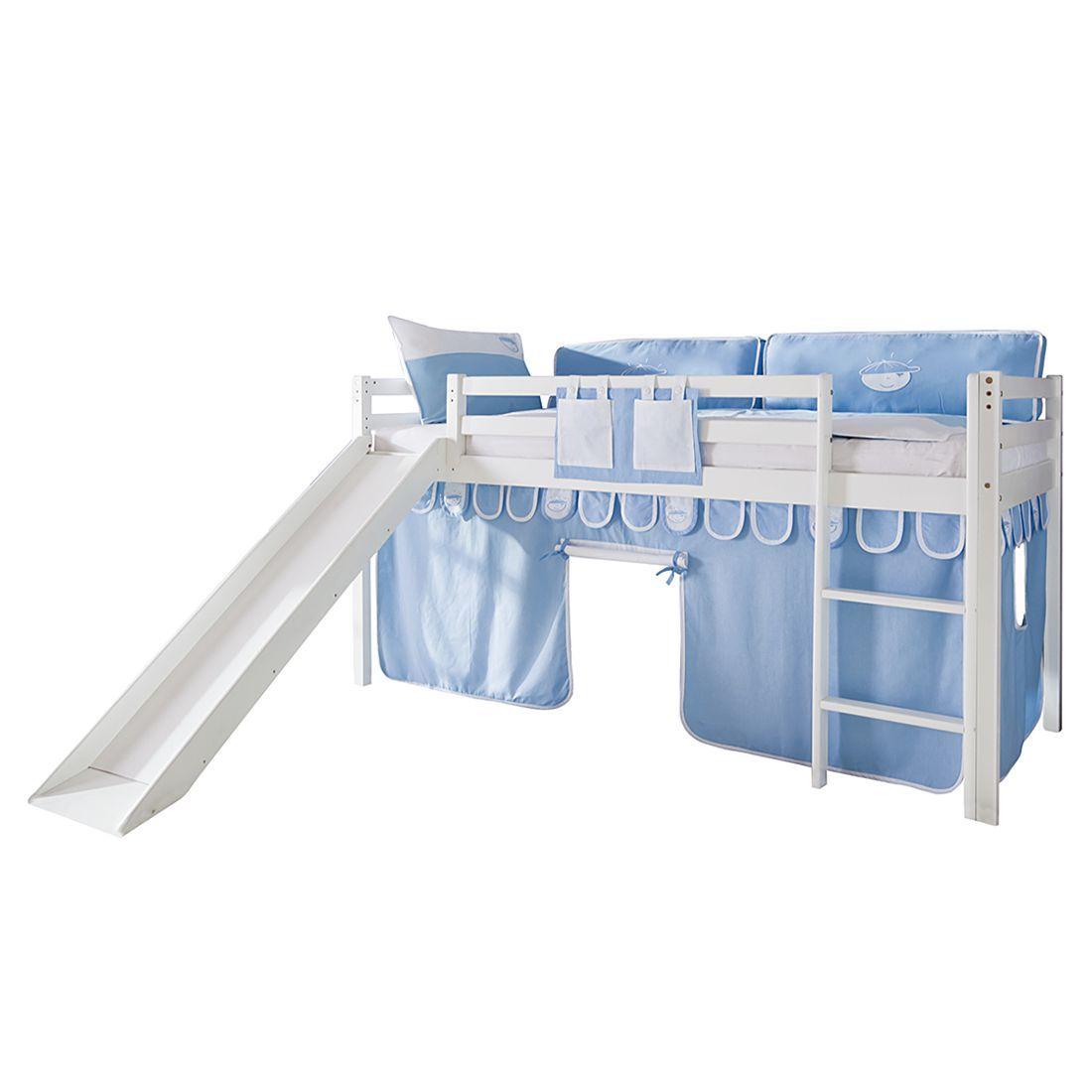 Kinderzimmer ohne bett spielbett toby  massivholz buche  weiß lackiert  mit rutsche und