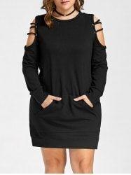 Open Shoulder Plus Size Ladder Cut Out Dress