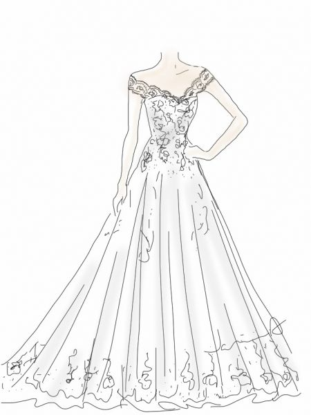 Sketch of wedding dress idea. Design your dream wedding gown! Janine ...
