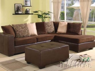 Dark Brown Sectional Couch With Mint Green Walls This