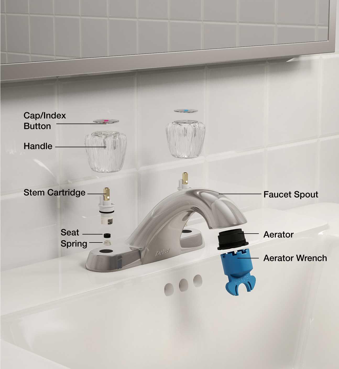 Faucet Parts Bath Two Handle Kitchen Faucet Bathroom Fixtures