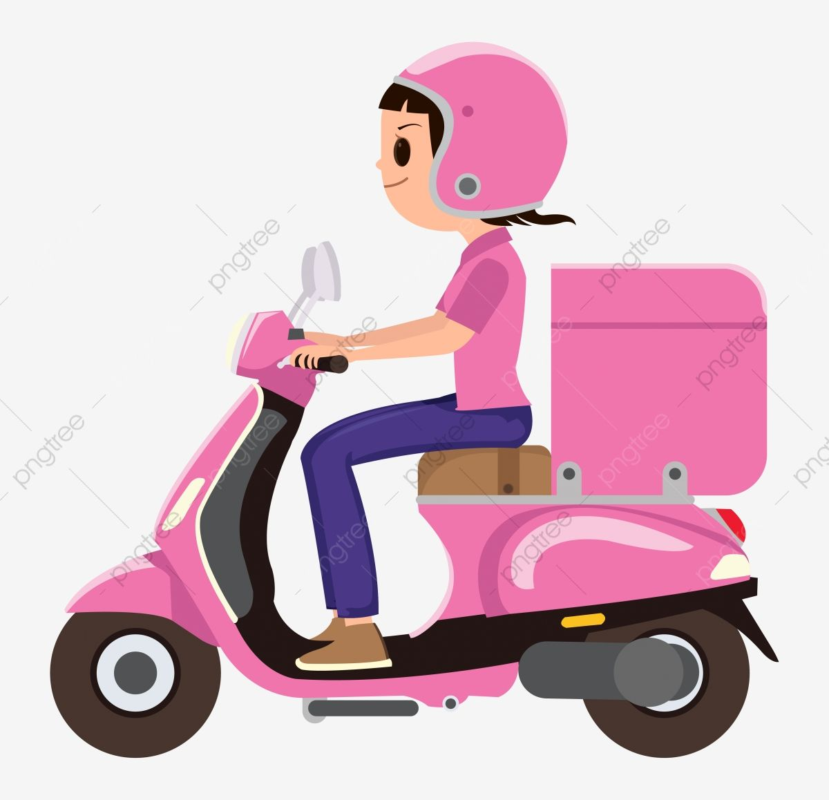 A Girl Riding A Pink Delivery Scooter Man Delivery Service Png