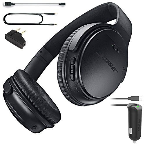 6b71dd27308 Bose QuietComfort 35 Bluetooth Wireless Noise Cancelling Headphones Black  Car Charger Bundle -- Check out the image by visiting the link.
