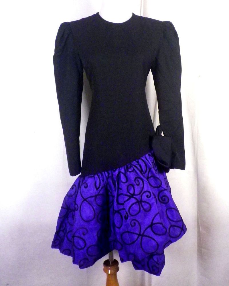Vtg s huey waltzer for darcy drop wait prom dress big bow mermaid