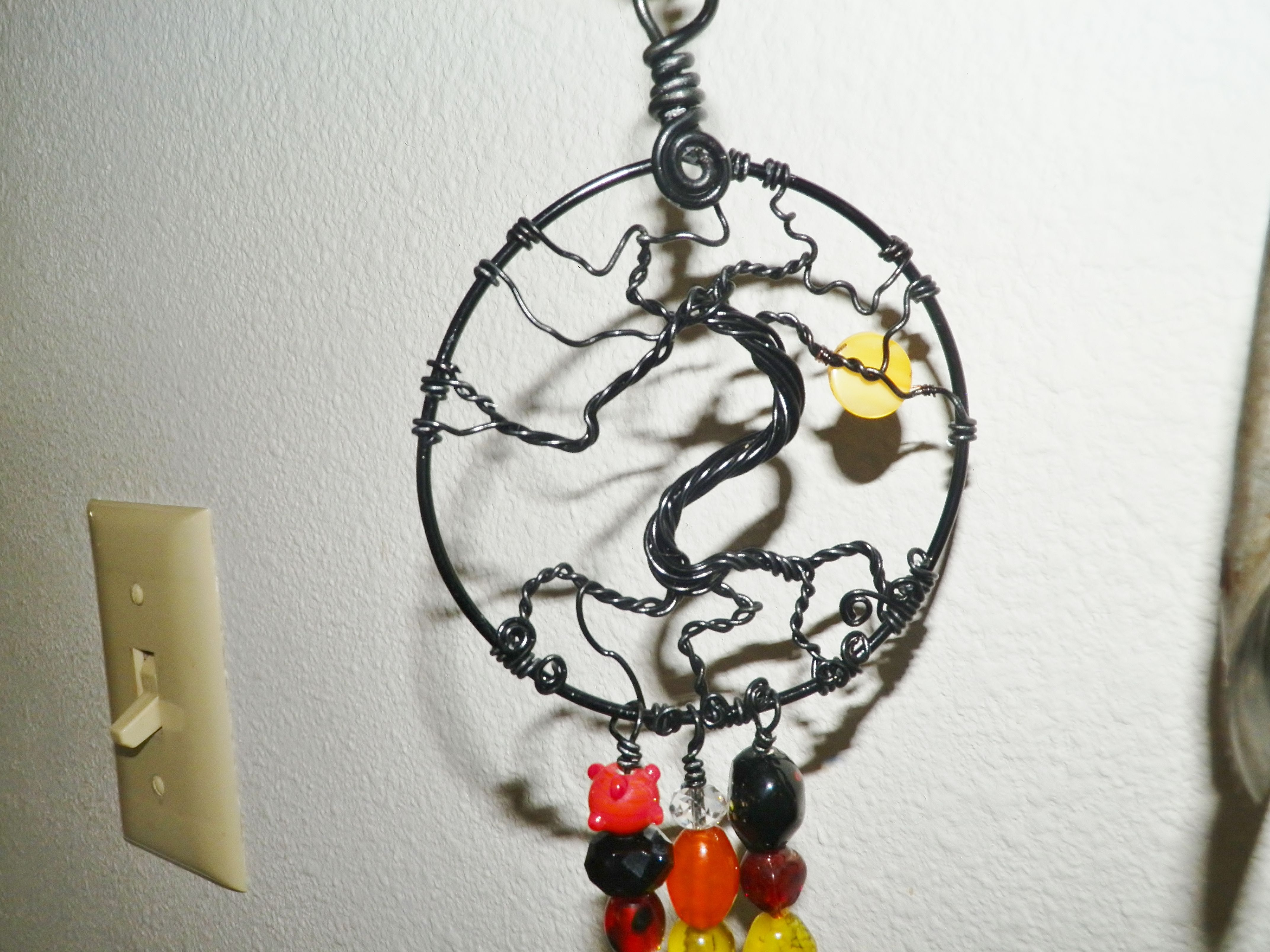 Halloween Tree of life sun catcher wire wrapped beaded